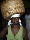 Sao Tomense Woman Carries Basket Full of Cocoa Beans, Cocoa Processing Plant in Agua Ize, Sao Tome Photographic Print by Camilla Watson
