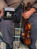 Blind Street Musician Holds His Violin in One Hand and His Collecting Box in the Other Photographic Print by Ian Aitken