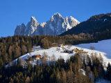Winter Landscape, Geisler Spitzen, Val Di Funes, Dolomites, Trentino-Alto Adige, South Tirol, Italy Photographic Print by Gavin Hellier