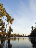 California, Los Angeles, Downtown District Skyscrapers Behind Echo Park Lake, USA Photographic Print by Christian Kober