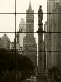 New York City, Manhattan, Statue of Christopher Columbus in Columbus Circle Viewed Through a Glass  Photographic Print by Gavin Hellier