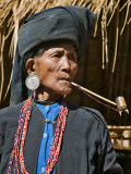 Old Woman of Small Ann Tribe in Traditional Attire Smoking a Pipe, Sittwe, Burma, Myanmar Photographic Print by Nigel Pavitt