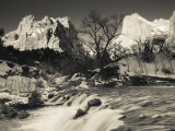 Utah, Zion National Park, Mountain Sunrise by the North Fork Virgin River, Winter, USA Photographic Print by Walter Bibikow