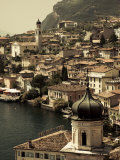 Lombardy, Lake District, Lake Garda, Limone Sul Garda, Town View with San Benedetto Church, Italy Photographic Print by Walter Bibikow