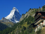 Colourful Mountain Chalet in the Shadow of the Matterhorn, Zermatt, Valais, Switzerland Photographic Print by Christian Kober