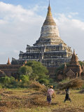 Bagan, the Ancient Buddhist Stupa of Shwesandaw on the Central Plain of Bagan, Myanmar, Burma Photographic Print by Nigel Pavitt