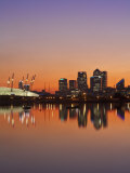 London, Newham, O2 Arena and Canary Wharf Buildings Reflecting in Royal Victoria Docks, England Photographic Print by Jane Sweeney