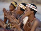 Kung Women Sing and Clap their Hands, They are San Hunter-Gatherers, Often Referred to as Bushmen Fotografie-Druck von Nigel Pavitt