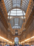 Lombardy, Milan, Galleria Vittorio Emanuele Ii, Shopping Arcade, Interior, Evening, Italy Photographic Print by Walter Bibikow