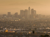 California, Los Angeles, Downtown View from Baldwin Hills, Sunrise, USA Photographic Print by Walter Bibikow