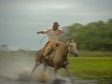 Traditional Pantanal Cowboys, Peao Pantaneiro, in Wetlands, Mato Grosso Do Sur Region, Brazil Photographic Print by Mark Hannaford