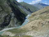 Yagnob River Runs Through the Yagnob Valley High in the Fann Mountain Range Photographic Print by Antonia Tozer