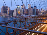 New York City, Manhattan, Downtown Financial District City Skyline Viewed from the Brooklyn Bridge  Photographic Print by Gavin Hellier