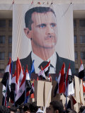 Supporters at a Rally in Downtown Damascus Endorsing President Bashar Al-Assad Photographic Print by Julian Love