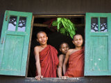 Burma, Rakhine State, Sittwe, Three Novice Monks Look Out of their Dormitory Window at the Pathain  Photographic Print by Nigel Pavitt