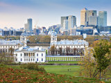 Royal Greenwich Park, National Maritime Musuem, and Canary Wharf in Autumn, London, England Photographic Print by Jane Sweeney