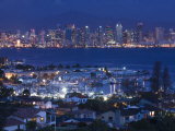 California, San Diego, City and Shelter Island Yacht Basin from Point Loma, Dusk, USA Photographic Print by Walter Bibikow