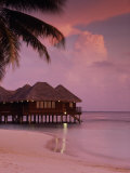 Beach and Water Villas at Sunset, Maldive Islands, Indian Ocean Photographic Print by Calum Stirling