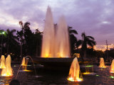 Luzon, Manila, Intramuros District - Rizal Park Fountain at Sunset, Philippines Photographic Print by Christian Kober