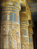 Painted Sunken Relief Carving Adorns Columns in the Mortuary Temple of Ramses Iii on the West Bank  Photographic Print by Julian Love