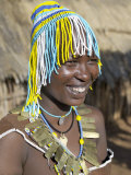 Datoga Woman with a Beaded Hat Worn on Ceremonial Occasions, Tanzania Photographic Print by Nigel Pavitt