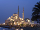 United Arab Emirates, Sharjah, Sharjah Mosque by the Corniche, Dusk Photographic Print by Michele Falzone