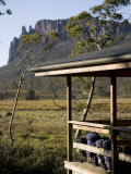 Backpacks Lined Up on the Balcony of New Pelion Hut on the Overland Track Photographic Print by Julian Love
