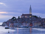 Istria, Rovinj, Harbor View with Cathedral of St, Euphemia, Croatia Photographic Print by Walter Bibikow