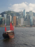 One of Last Remaining Chinese Sailing Junks on Victoria Harbour, Hong Kong, China, Asia Photographic Print by Gavin Hellier