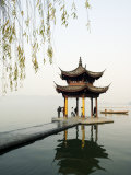 Zhejiang Province, Hangzhou, A Pavillion Early in the Morning on West Lake, China Photographic Print by Christian Kober