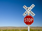 New Mexico, Route 66, Near Montoya, Railroad Crossing and Sign, USA Photographic Print by Alan Copson