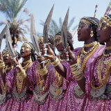 During a Dance, Girls from the Sultanate of Tadjoura, Dress Up in All their Finery and Display the  Photographie par Nigel Pavitt