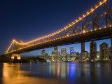 Brisbane City Skyline at Dusk, Queensland, Story Bridge Illuminated, Brisbane River, Australia Photographic Print by Andrew Watson