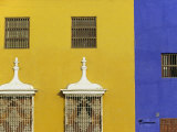Wrought Iron Grillwork and Pastel Shades of Colonial Mansion on Plaza De Armas in Trujillo, Peru Photographic Print by Andrew Watson