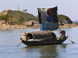 Burma, Kaladan River, A Traditional Sailing Boat on the Kaladan River, Myanmar Photographic Print by Nigel Pavitt