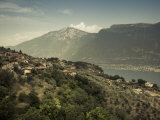 Lombardy, Lake District, Lake Garda, Tremosine Plateau, Pieve, High Lakeside Landscape, Italy Photographic Print by Walter Bibikow