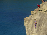 Pembrokeshire, Rockclimbing at St Nons, Pembrokeshire National Park, Wales Photographic Print by Paul Harris