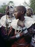 Maasai Girls Gather to Celebrate a Wedding, their Broad Beaded Necklaces with White Glass Beads Photographic Print by Nigel Pavitt