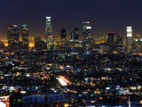 California, Los Angeles, City Lights and Downtown District Skyscrapers, USA Photographic Print by Christian Kober