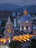 Salta Province, Salta, Plaza 9 De Julio and Cathedral, Aerial, Evening, Argentina Photographic Print by Walter Bibikow