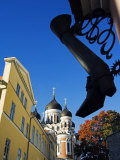 Ornamental Steel Boot Hangs In front of Russian Orthodox Alexander Nevsky Cathedral on Toompea Hill Photographic Print by Christian Kober