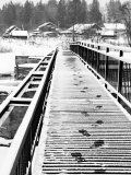 Footprints on the Bridge, Somino Village, Leningrad Region, Russia Photographic Print by Nadia Isakova