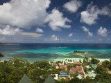 Seychelles, Praslin Island, Anse Volbert, Aerial View of Tourist Village Photographic Print by Walter Bibikow