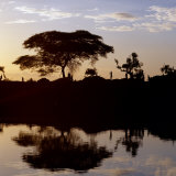 Southwest Ethiopia, Omo River, Sunset on Banks of Omo River Near a Dassanech Village, Ethiopia Fotografisk tryk af Nigel Pavitt