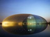 China Beijing an Illuminated National Grand Theatre Opera House known as the Egg Photographic Print by Christian Kober