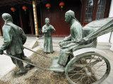 Jiangsu Province, Suzhou City, Museum of Opera and Theatre, a Bronze Statue a Rickshaw Outside the  Photographic Print by Christian Kober