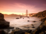 California, San Francisco, Golden Gate Bridge from Marshall Beach, USA Fotoprint van Alan Copson