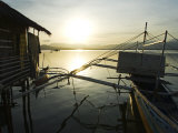 Palawan, Puerto Princessa, Silhouette of Fishing Boat at Sunset, Philippines Photographic Print by Christian Kober