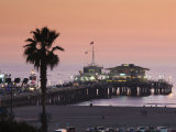 California, Los Angeles, Santa Monica, Santa Monica Pier, Dusk, USA Photographic Print by Walter Bibikow