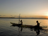 Bahia, Barra De Serinhaem, Fishermen Returning to Shore at Sunset in Thier Dug Out Canoe, Brazil Photographic Print by Mark Hannaford